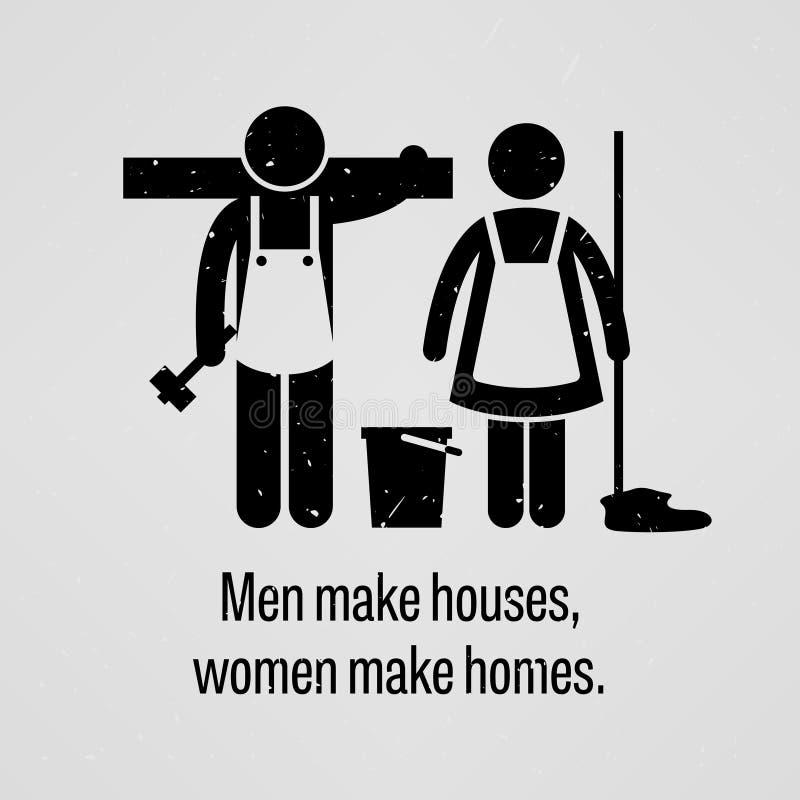 Männer machen Häuser, Frauen machen Häuser stock abbildung