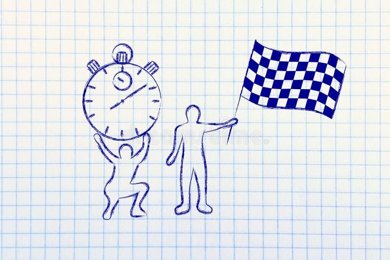 Männer mit übergroßer Stoppuhr und chekered Flagge lizenzfreie abbildung