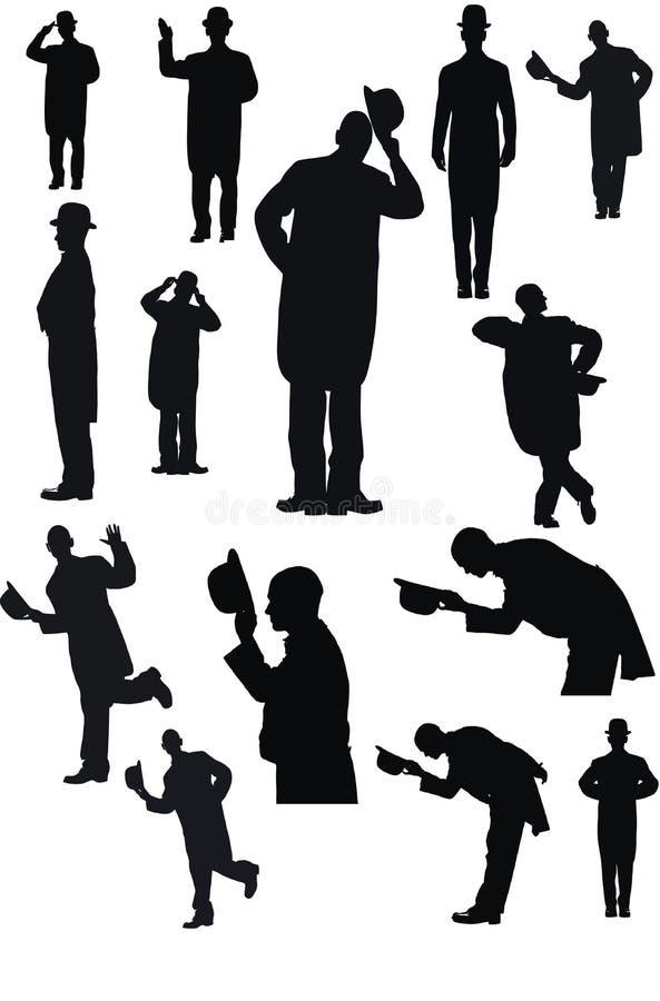 Männer mit Hut im Schattenbild lizenzfreie abbildung