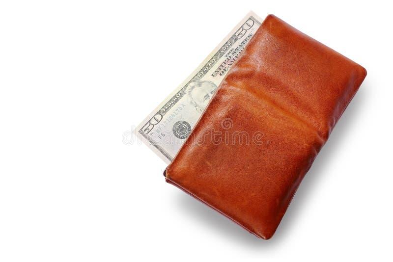 Männer ` s Geldbörse mit Dollarbargeld auf weißem Hintergrund lizenzfreie stockbilder