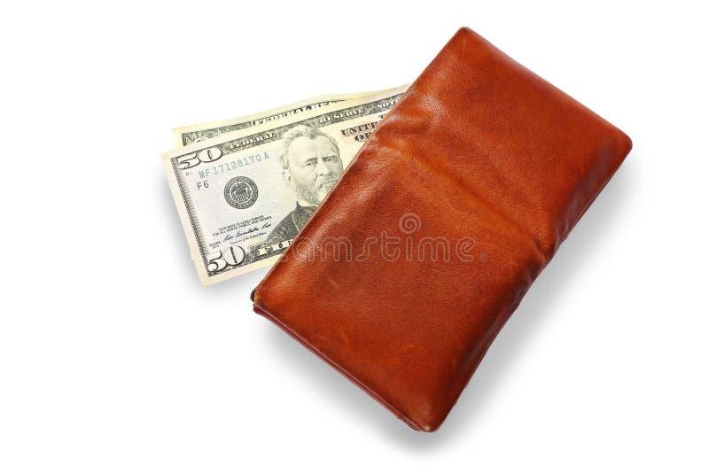 Männer ` s Geldbörse mit Dollarbargeld auf weißem Hintergrund stockfotografie