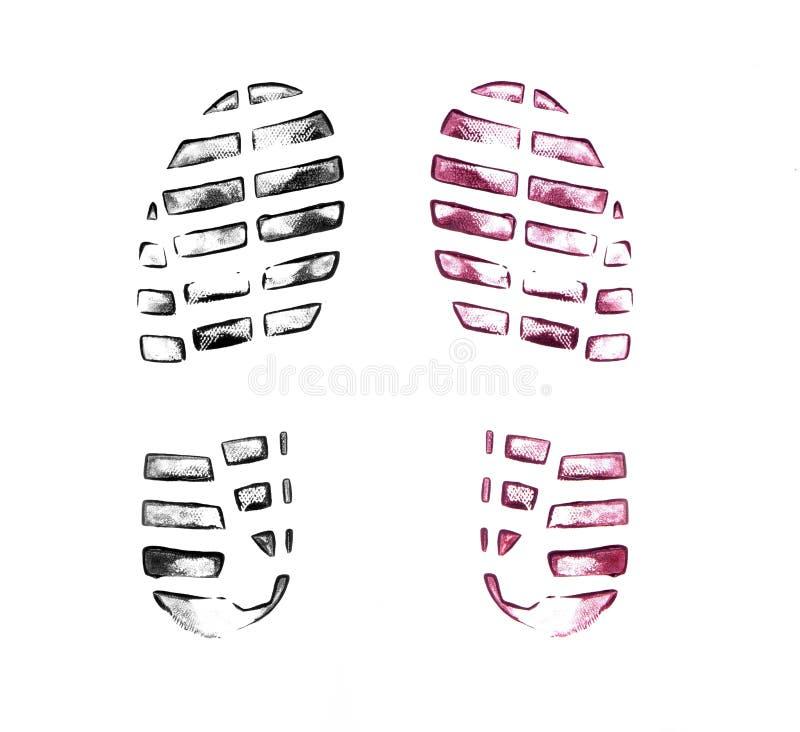 Männer ` s Schuhabdrücke auf Weiß lizenzfreie stockfotografie