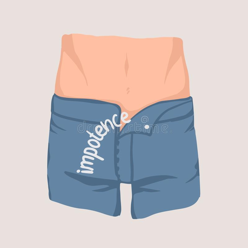 Männer ` s Taille und Hüften und Jeans mit geöffneter Fliege Konzept der Machtlosigkeit, erektile Dysfunktion, Unfähigkeit zu err stock abbildung
