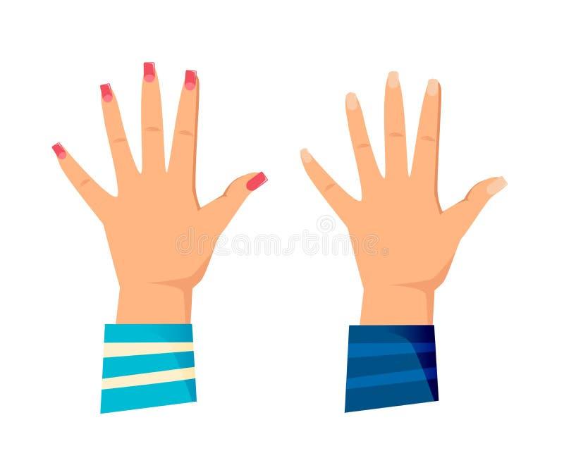 Männer ` s und Frauen ` s Hände mit Gesten Hoch fünf geben, vektor abbildung