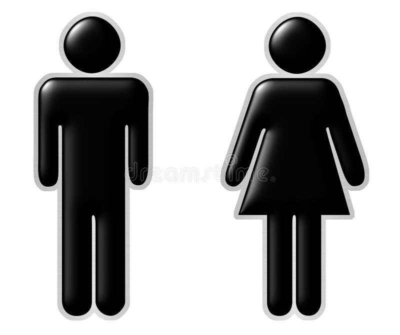 Männer u. Frauen stock abbildung