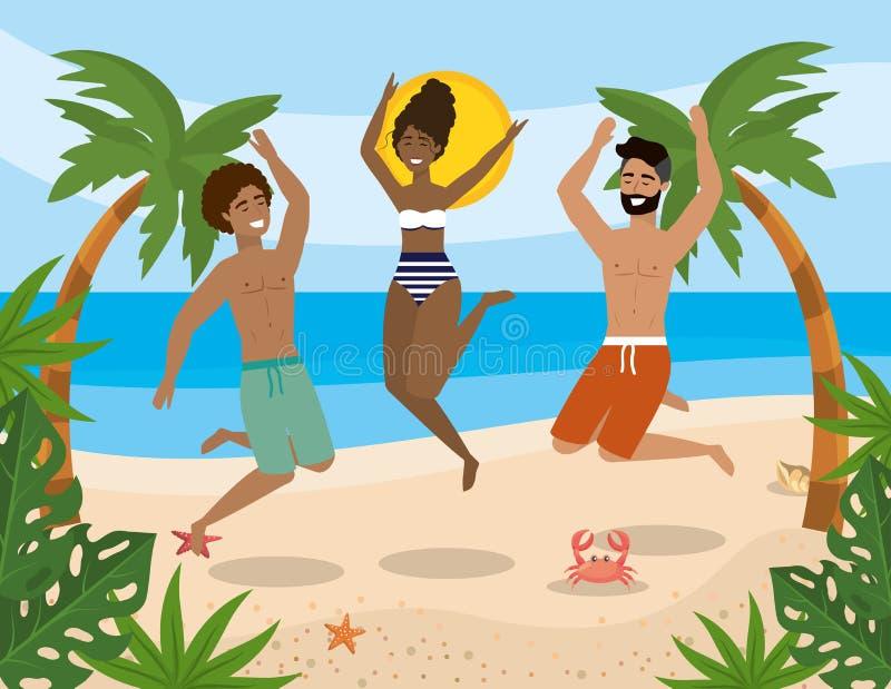 Männer und Frau, die in den Strand mit Badeanzug springen und kurze Hosen baden vektor abbildung