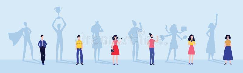 Männer und Frau mit Superhelden und erfolgreicher Leuteschattenvektorillustration stock abbildung