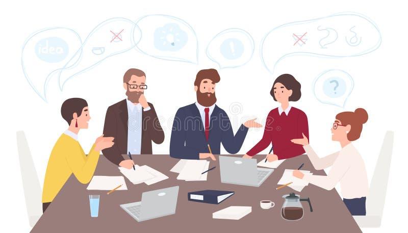 Männer und Frauen kleideten in der Geschäftskleidung an, die bei Tisch sitzt und Ideen bespricht und tauschten die Informationen  vektor abbildung
