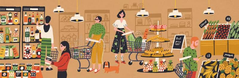 Männer und Frauen mit Einkaufswagen und Körbe, die Produkte am Gemischtwarenladen wählen und kaufen Leute, die Nahrung an kaufen lizenzfreie abbildung