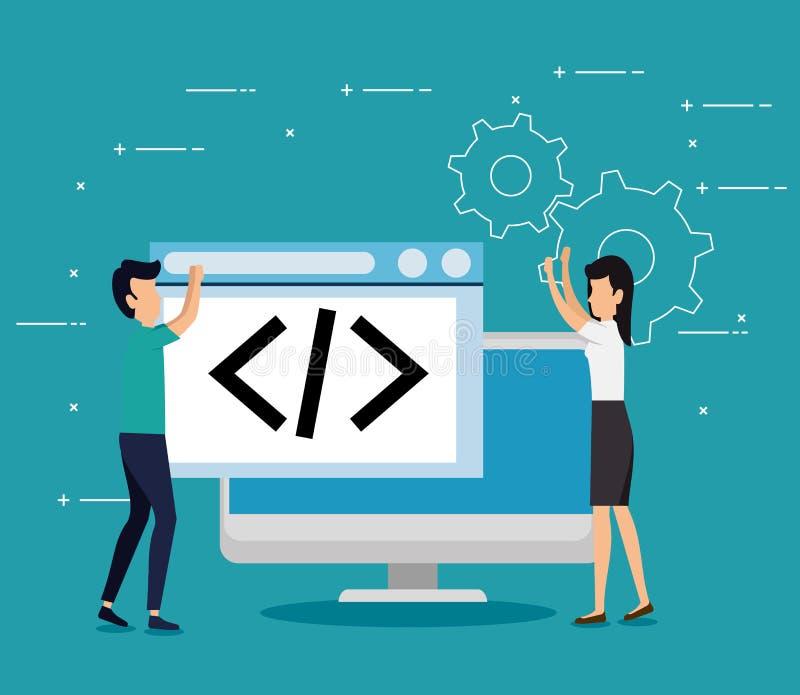 Männer und Frauengeschäftsteamwork mit Computerwebsite lizenzfreie abbildung
