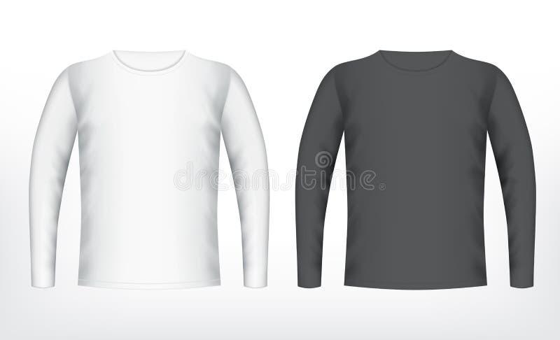 Männer weiß und schwarzes T-Shirt vektor abbildung