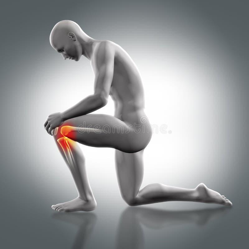 Männerfigur 3D, die Knie in den Schmerz hält lizenzfreie abbildung