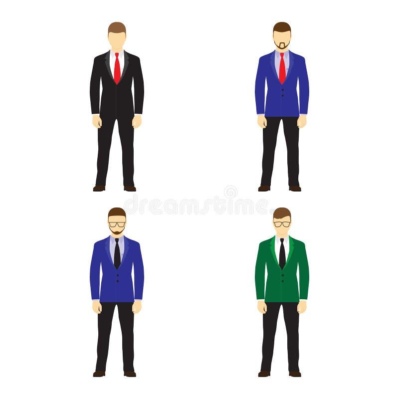 Männerfiguravataras, Ikonen JPG + vektorabbildung vektor abbildung