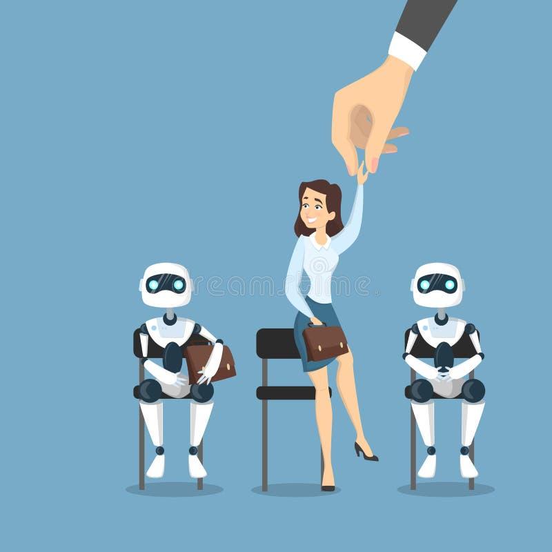 Människa över robotar royaltyfri illustrationer