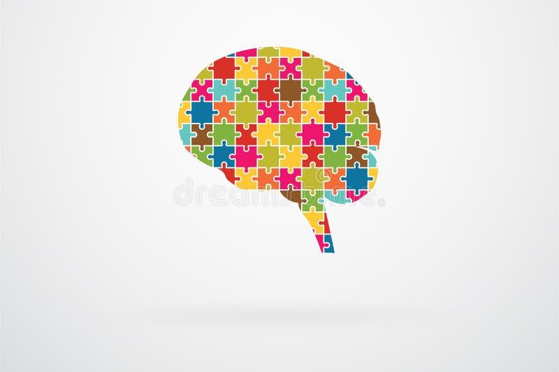 Människa Brain Jigsaw Puzzle stock illustrationer