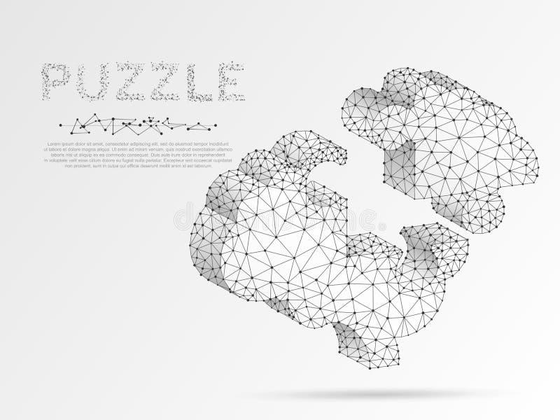 Människa Brain Jigsaw Puzzle E Polygonal vektor stock illustrationer