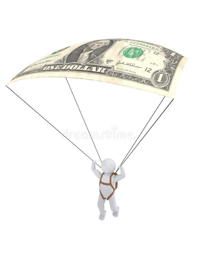 människa 3d med hoppa fallskärm-dollaren vektor illustrationer