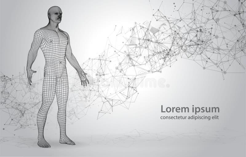 människa för 3D Polygona på abstrakt utrymmebakgrund med förbindande prickar och linjer stock illustrationer