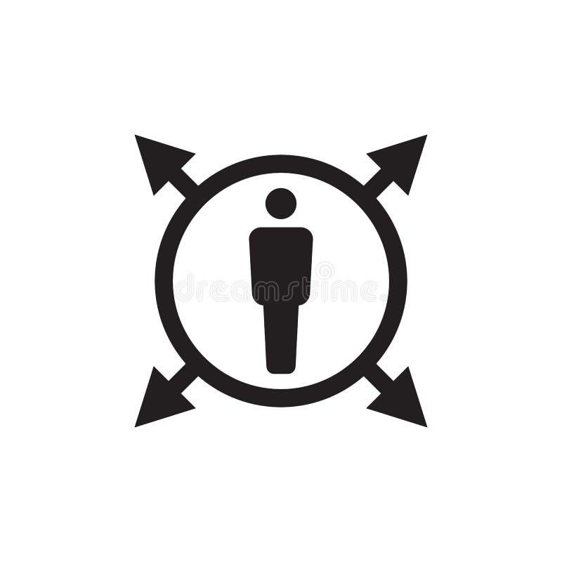 Människa i cirkeln med pilar - svart symbol på den vita bakgrundsvektorillustrationen för websiten, mobil applikation, presentati royaltyfri illustrationer