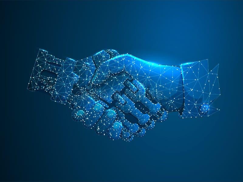 Människa- och robothänder skakar Framtida affär för begrepp Polygonal lågt Poly Framtida wireframebegrepp Vektorvetenskap stock illustrationer