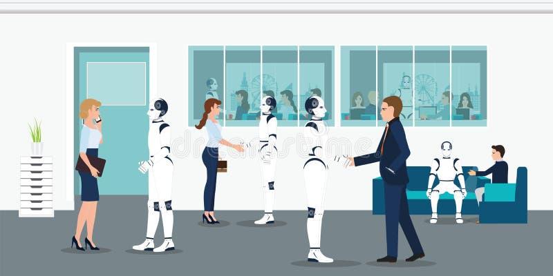 Människa- och robotkontorsarbetare stock illustrationer