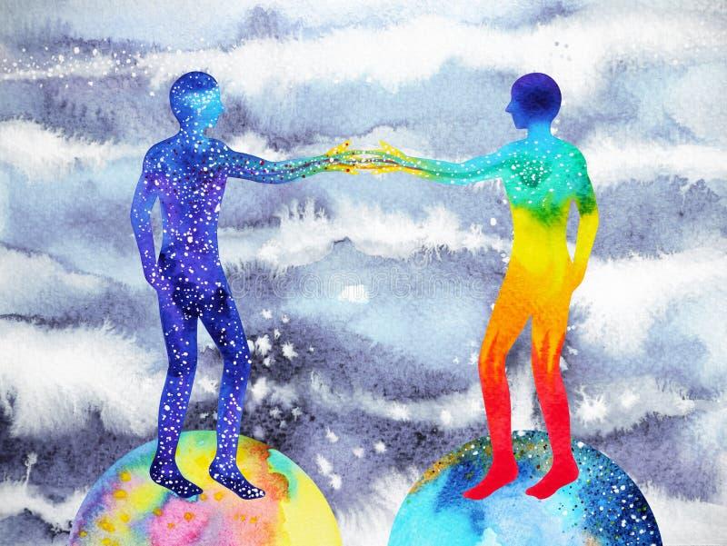 Människa- och universummakt, vattenfärgmålning, chakrareiki, genivärldsuniversum inom din mening stock illustrationer