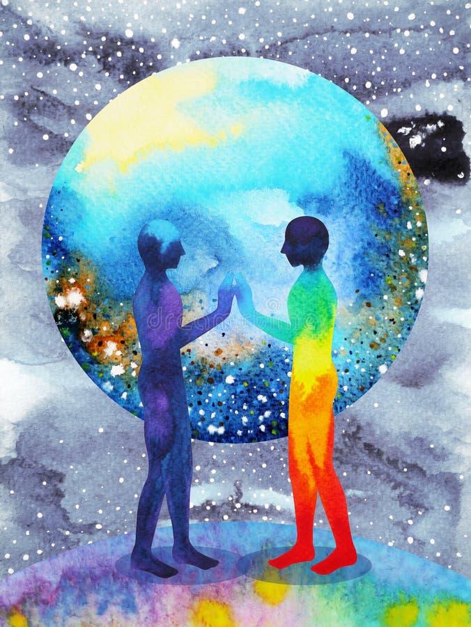 Människa- och universummakt, vattenfärgmålning, chakrareiki, världsuniversum inom din mening royaltyfri illustrationer