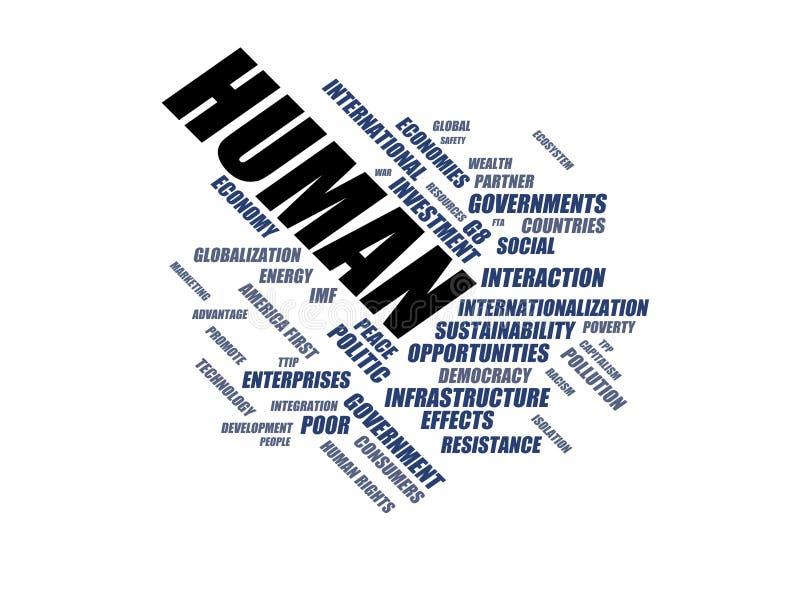 Människa - ordmolnwordcloud - uttryck från den globalisering-, ekonomi- och politikmiljön royaltyfri illustrationer