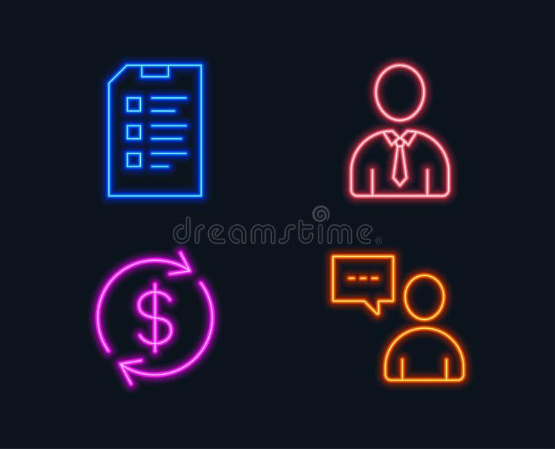 Människa Usd utbyte och kontrollistasymboler Användarepratstundtecken Personprofil, valutahastighet, datalista vektor illustrationer