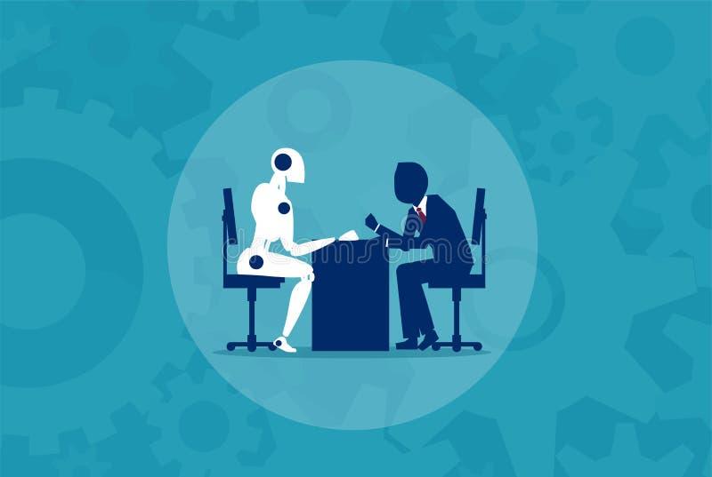 Människa vs robotmaskinbegrepp stock illustrationer