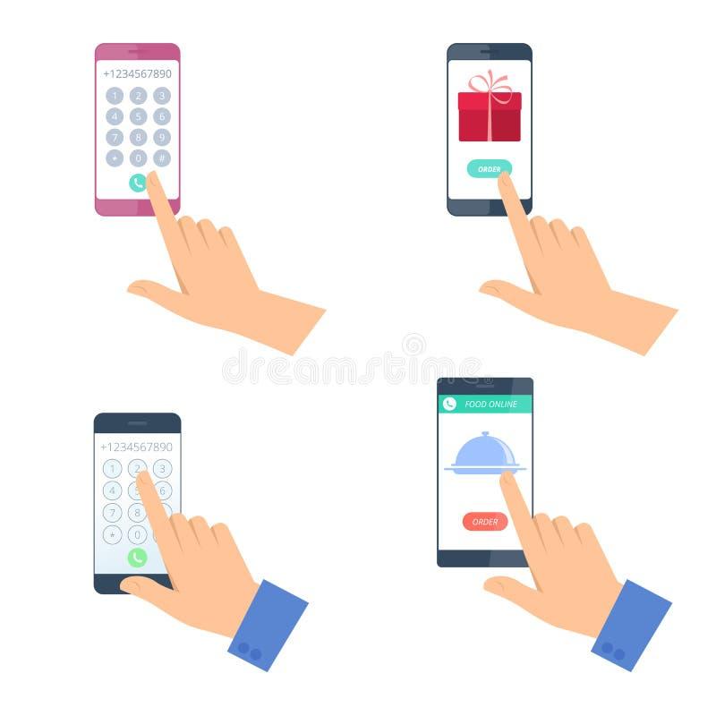 Människahänder med mobiltelefonuppsättningen royaltyfri illustrationer