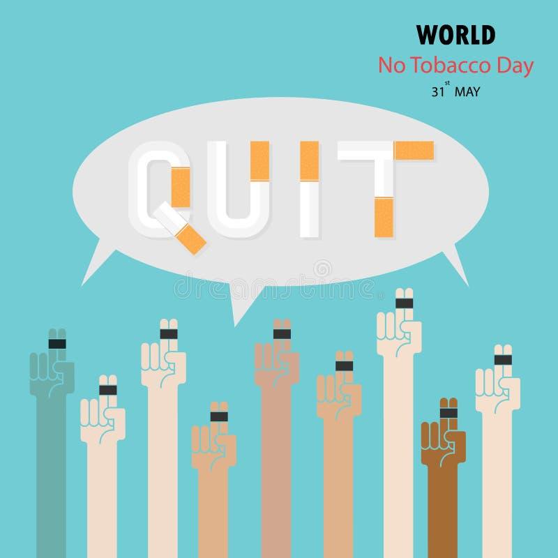 Människahänder och cigarett Avsluta templaen för designen för tobakvektorlogoen stock illustrationer