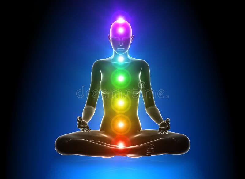 Meditation - Chakras royaltyfri illustrationer