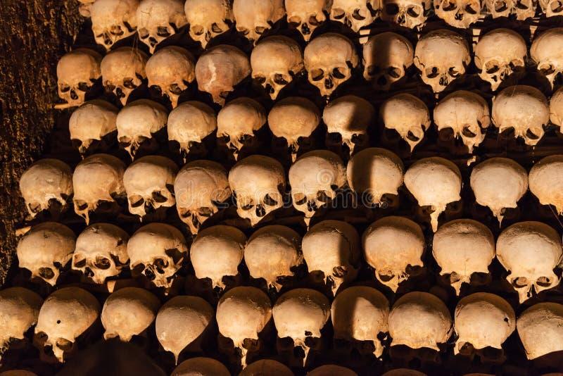 Människan återstår i Ossuary av St James Church, Brno royaltyfria foton