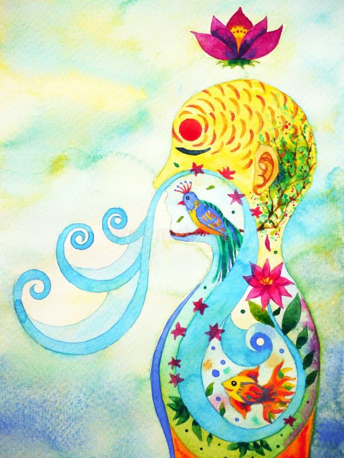 Människan andas in, ut målning för vattenfärgen för naturblommabakgrund arkivfoto