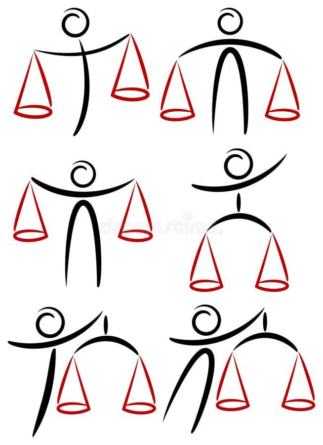 Människan balanserar tecknad film royaltyfri illustrationer