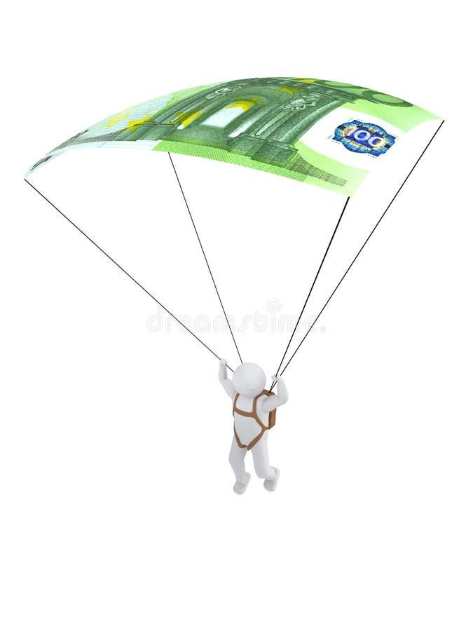 människan 3d med euro-hoppa fallskärm vektor illustrationer