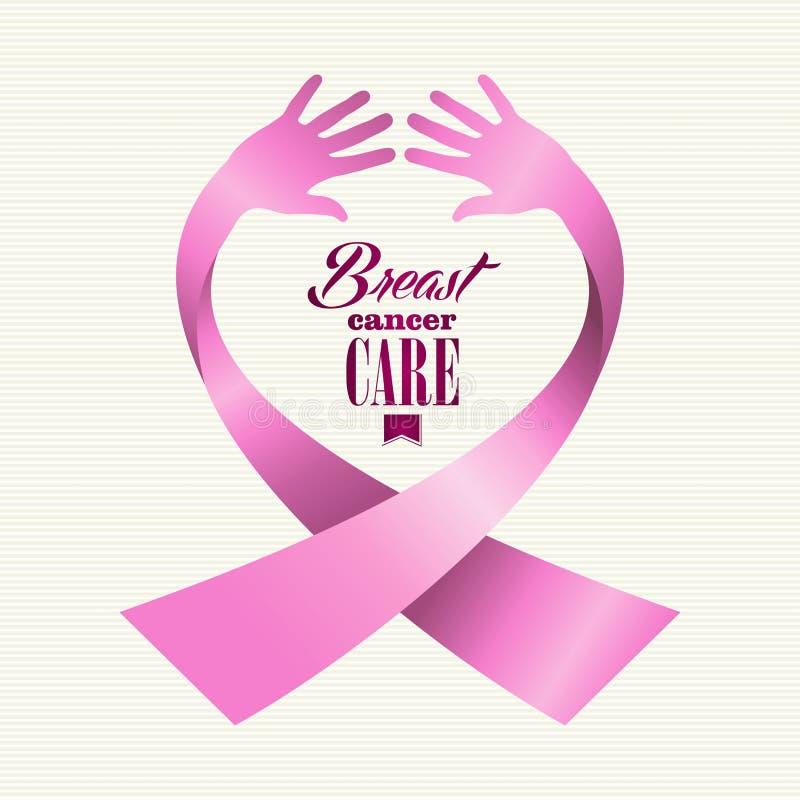 Människan för text för bröstcancermedvetenhetbandet räcker Co royaltyfri illustrationer