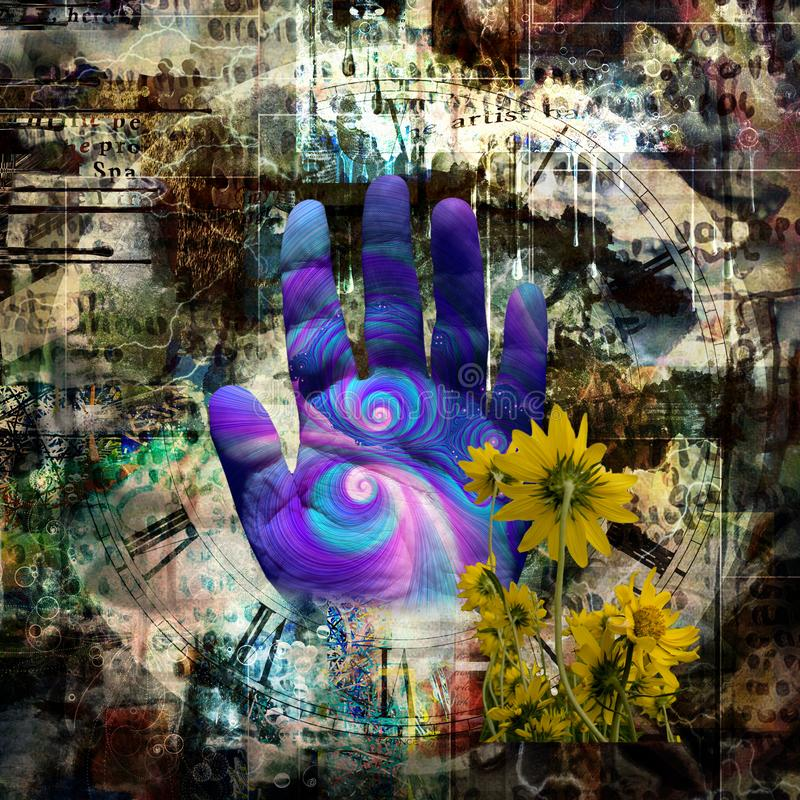 Människan gömma i handflatan och gula blommor vektor illustrationer