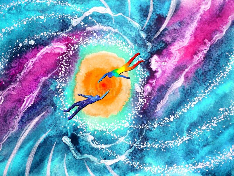 Människan och andlig kraftig energi förbinder till ett annat världsuniversum royaltyfri illustrationer