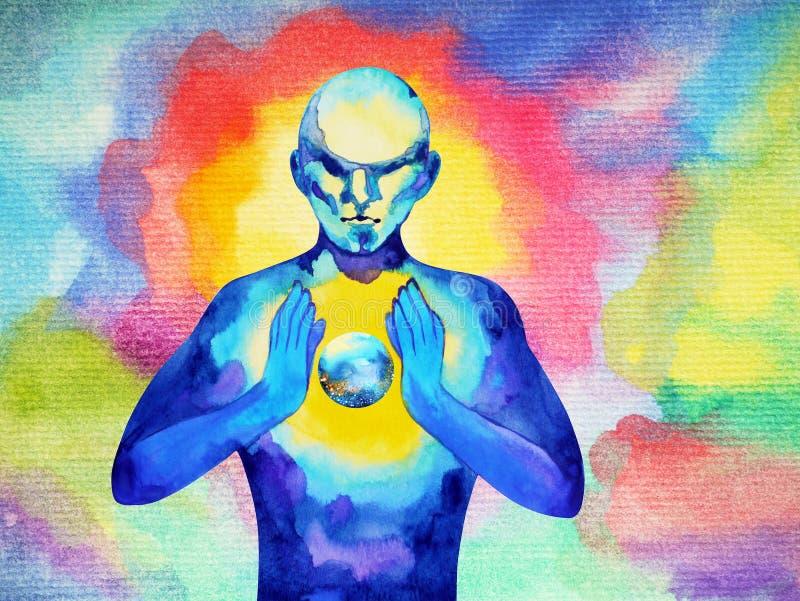 Människan och kraftig energi för ande förbinder till världsuniversummakten stock illustrationer