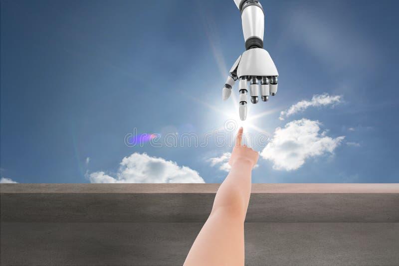 Människan räcker den rörande robothanden i bakgrund för blå himmel vektor illustrationer