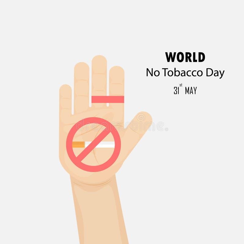 Människan räcker och avslutade mallen för designen för tobakvektorlogoen Maj 31s royaltyfri illustrationer