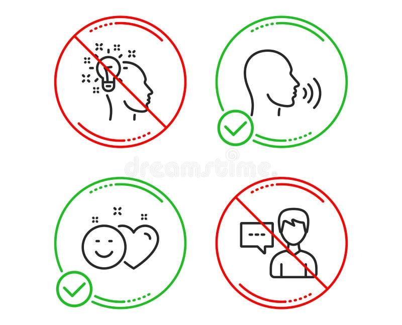 Människan sjunger, ler och idésymbolsuppsättningen Personsamtaltecken Samtal socialt massmedia som, idérik formgivare vektor vektor illustrationer