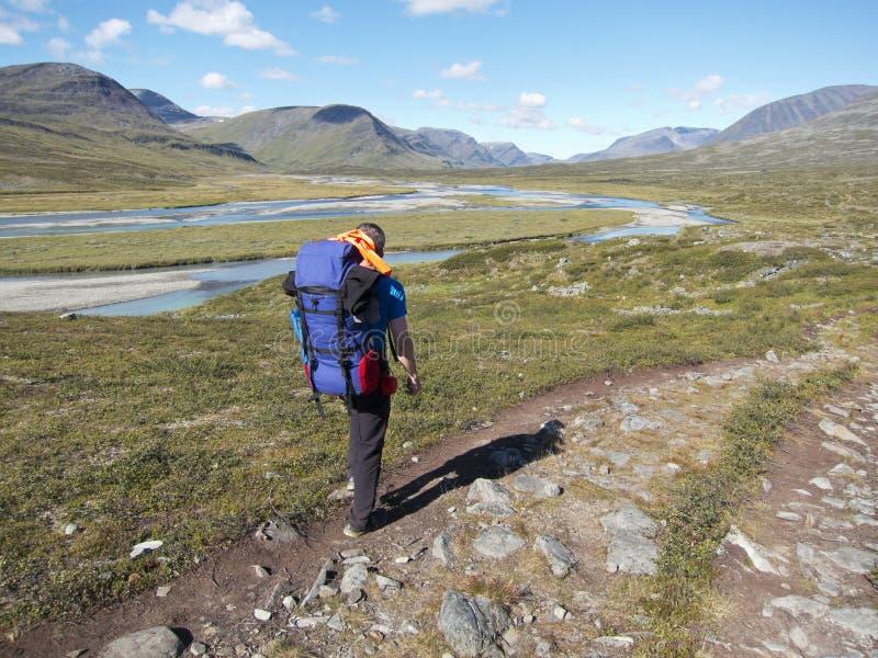 Människan som vandrar i vildmarken royaltyfria bilder