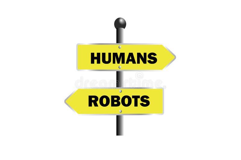 människarobotar undertecknar det gula riktningsbrädet för brädet som rätten lämnade arkivfoto