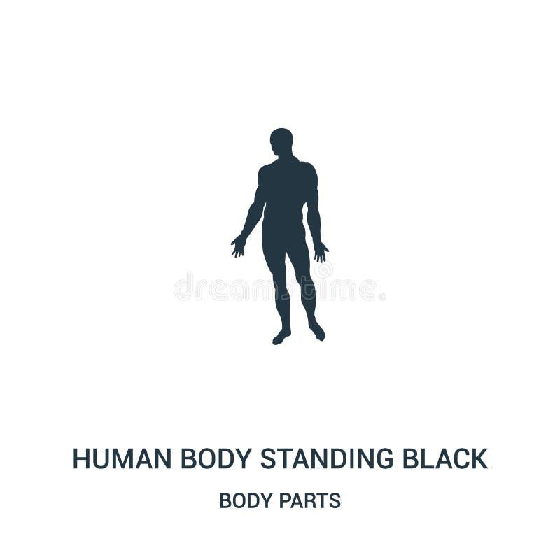 människokropp som står den svarta kontursymbolsvektorn från kroppsdelsamling Tunn linje människokropp som står den svarta konturn royaltyfri illustrationer