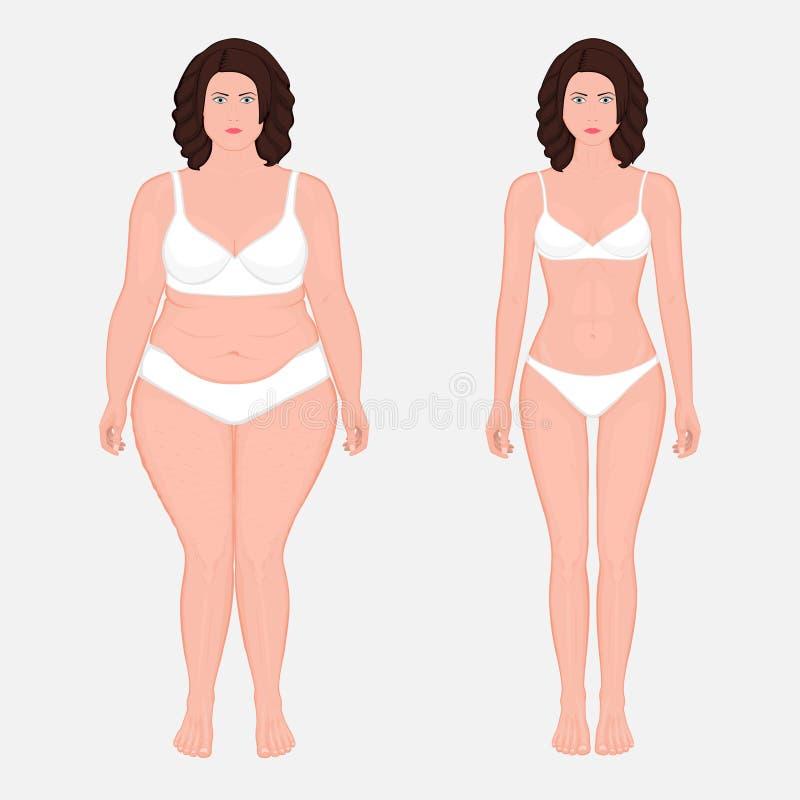 Människokroppanatomy_Weightförlust i en främre sikt för europeisk kvinna vektor illustrationer