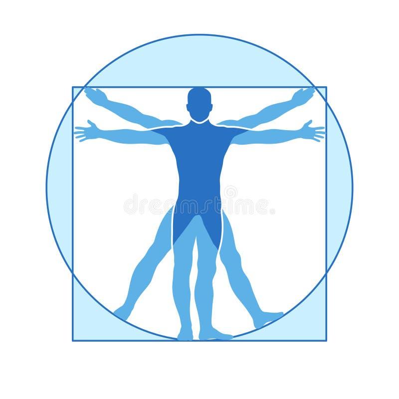 Människokroppvektorsymbol av den vitruvian mannen vektor illustrationer