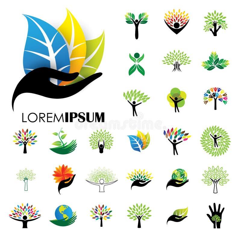 Människolivlogosymboler av abstrakta folkträdvektorer stock illustrationer